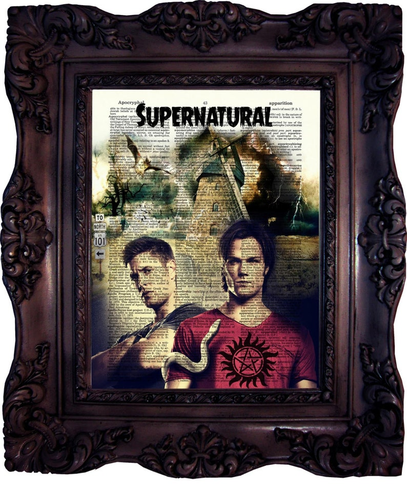 Sam and Dean from Supernatural Dictionary Art Print Poster Picture Vintage Book