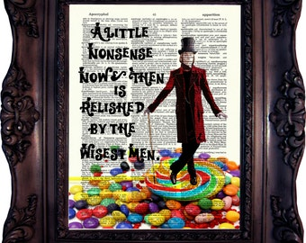 Willy Wonka Print Willy Wonka Decor Charlie and the Chocolate Factory Willy Wonka Quote Willy Wonka Birthday Party Dictionary Print C:654