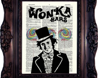 Willy Wonka Print Willy Wonka Decor Charlie and the Chocolate Factory Willy Wonka Quote Willy Wonka Birthday Party Dictionary Print C:652