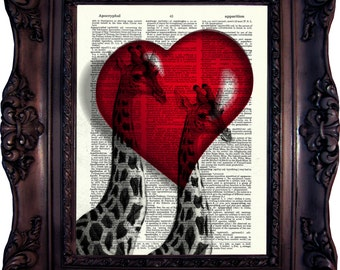 Valentine's Day Gift Wife Valentines Gift Husband Valentines Gift Boyfriend Valentines Gift Girlfriend Giraffes in Love Dictionary art C:512