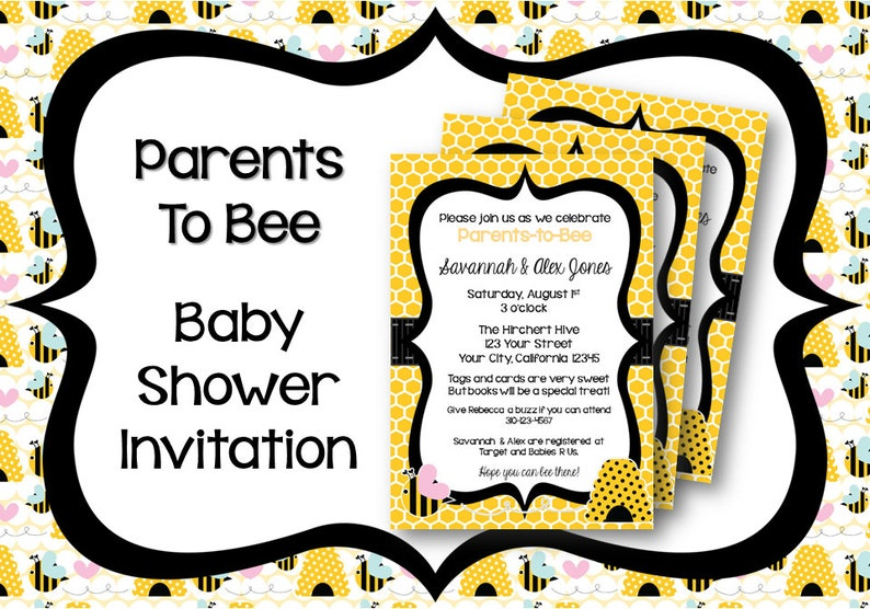 Bumble Bee Baby Shower Invitation Etsy