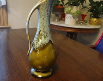 Small Green Pitcher Made in USA American Pottery Mid Century Modern Home Decor, Ewer, American Pottery, Olive Green Ewer, Art Pottery, USA