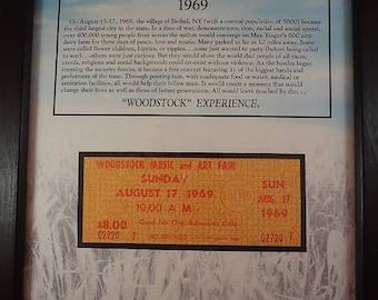 Woodstock Ticket, Authentic Woodstock, l969, Hippies, Yasgar's Farm, Rock and Roll, Music Festival, Jimi Hendrix, Janis Joplin, Peace, Love