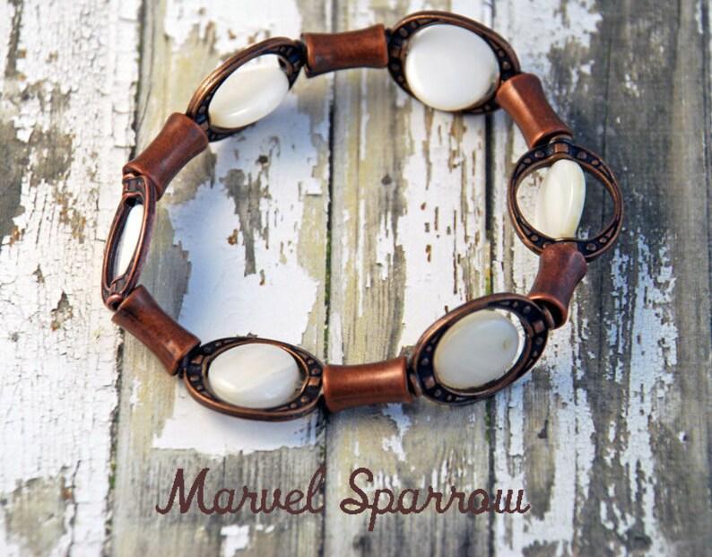 White Mother of Pearl Shell Beads /& Copper Flute Tubes Stretch Bracelet Rust Antique Eggshell Wedding Snow Milk Beach Ocean Seashore Moon