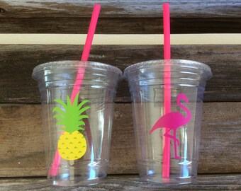 Tropical Party Cups - Flamingo Cups, Pineapple Cups, Luau Party, Summer Party, Birthday Party