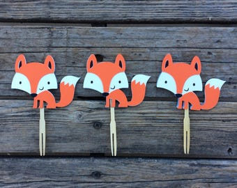 Woodland Fox Cupcake Toppers - Woodland Party, Fox Baby Shower, Fox Party, Baby Shower, Birthday Party, Photo Prop, Party Supplies