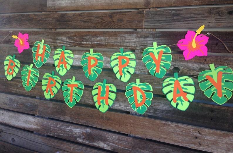 Luau Birthday Banner Luau Banner Luau Birthday Decorations Happy Birthday Banner Luau Party Decorations First Birthday