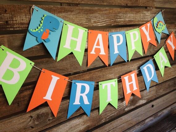 Happy Birthday Dinosaur Party Banner Photo Prop Birthday