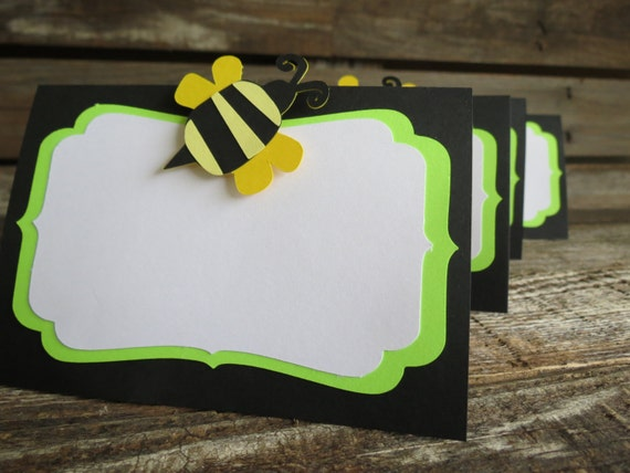 Bumble Bee Party Food Labels - Spring Baby Shower, Spring Party, First Birthday, Tent Food Labels