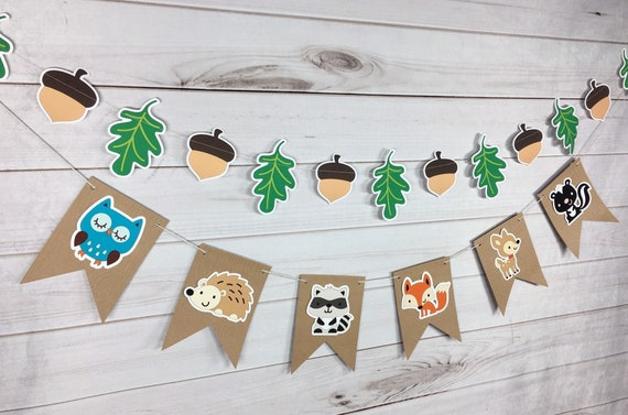 Woodland Party Banner Woodland Baby Shower Decorations Woodland Birthday Banner Woodland Party Decorations First Birthday Photo Props