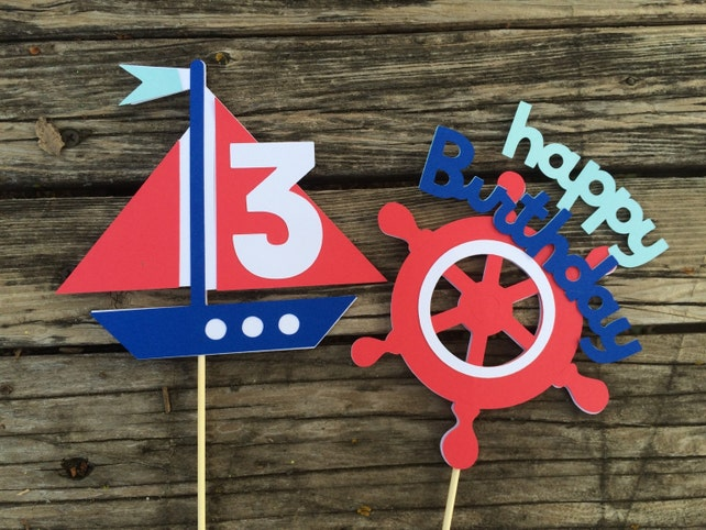 Nautical Party Center Piece Decorations - Nautical Decor, Nautical Baby Shower, First Birthday, Photo prop, Beach Party