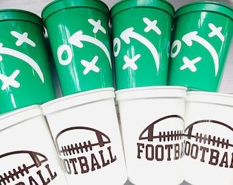 Football Party Cups Reusable 16oz Stadium Cups Football Favors Gameday Party Cups Football Party Decorations Football