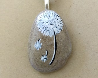 Whimsical Dandelion with wishes handpainted stones pendant necklace PEN0648