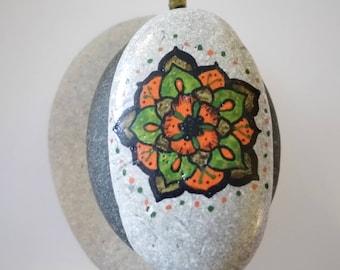 Oval Stone Mandala Flower Earthy Large Pendant Orange Green Brown Handpainted Rock Necklace Jewelry PEN0104