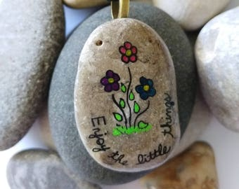 Enjoy the Little Things Quote Stone Hand Painted Pendant Necklace Rock Jewelry Positive Sayings PEN0279