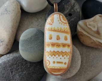Southwestern Tribal Necklace Pendant Hand painted Stone Jewelry PEN0188