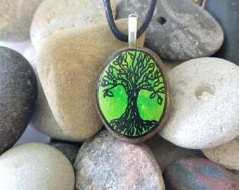Tree Of Life Lime Green Pendant Handpainted Stone Jewelry PEN0359