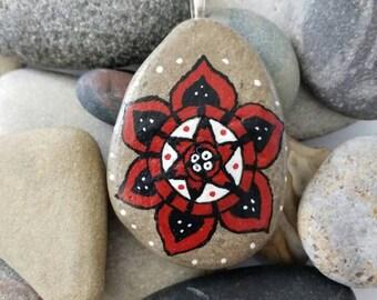 Mandala Red Flower Bold Handpainted Stone Jewelry Pendant PEN0097