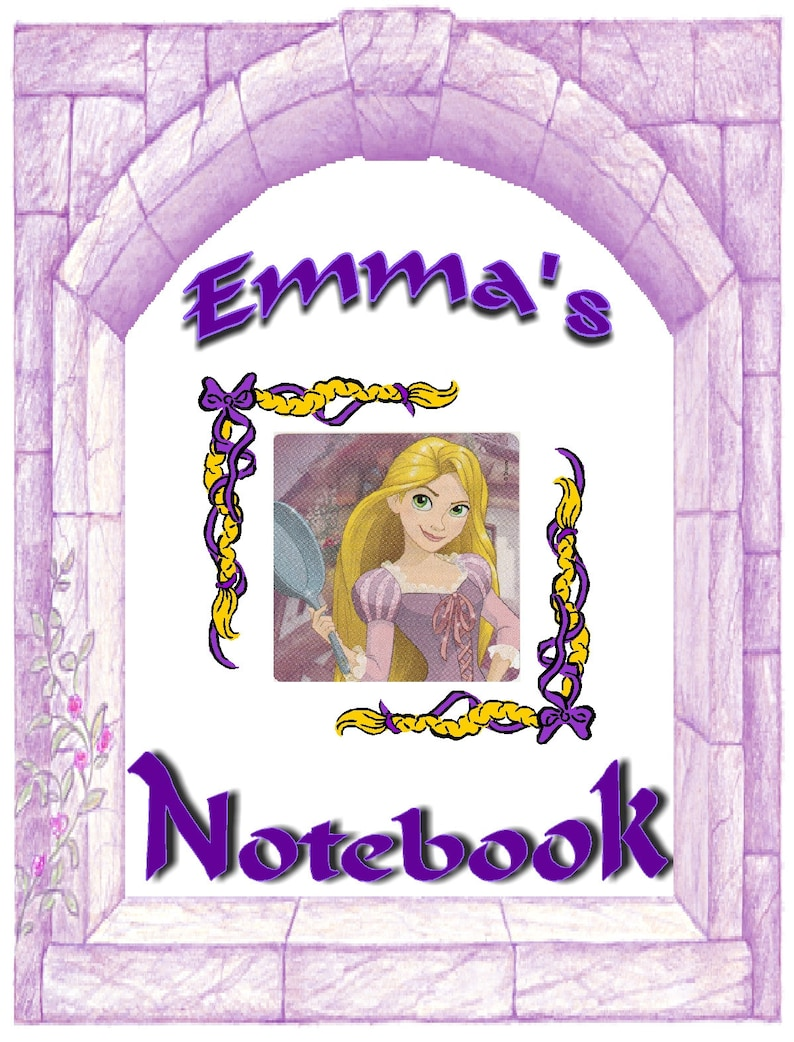 Journal Camp Disney Rapunzel Tangled Inspired Personalized Spiral Notebook 1 Subject wide or college ruled perforated pages Back to School