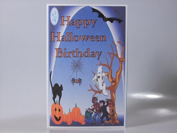 Happy Halloween Birthday Card For Child Boy Girl With Black Etsy