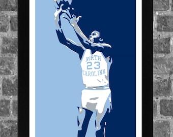 North Carolina Tar Heels Michael Jordan Portrait Sports Print Art 11x17 920829568