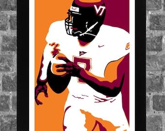 Virginia Tech Hokies Michael Vick Portrait Sports Print Art 11x17 a58525e13d78b
