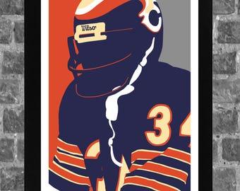 Chicago Walter Payton Ditka Butkus Sports Print Art 20x30