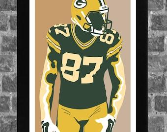 Green Bay Jordy Nelson Sports Print Art 11x17