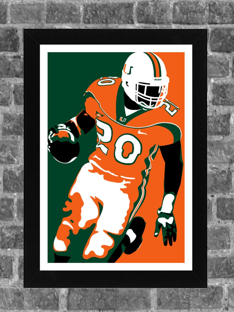 new product 8855e d0090 Miami Hurricanes Ed Reed Portrait Sports Print Art 11x17