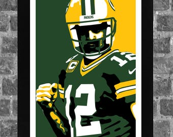 Green Bay Aaron Rodgers Sports Print Art 11x17