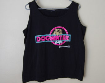 90's DOGWATER CAFE we treat you like the dog you are clearwater flordia black tank top