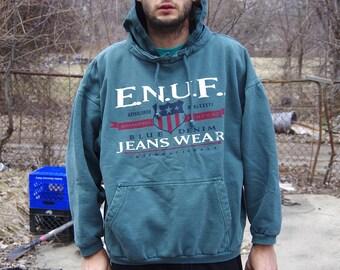 90's E.N.U.F. jeans wear green hoodie sweatshirt size large