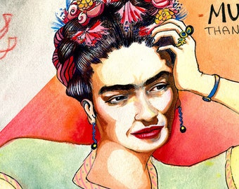 ENDURE Print - Frida Kahlo in flower crown & heart with inspirational quote - Original Watercolor Fine Art giclee - Created survived thrived