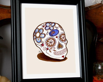 """Day of the Dead """"I Voted"""" PRINT only - Floral candy skull illustration w/ voting sticker - Social justice art, latinx, activism, chicano"""