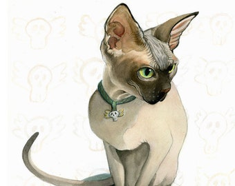 Little Death's Head PRINT, Original Illustration Sphynx Siamese Cat on Skull w/ Marigolds, for Dia de Muertos, pet remembrance, deathlings