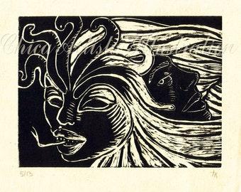 "Woodcut Print-""He is Medusa"""