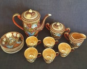 Lucky China Satsuma Geisha Tea or Demitasse Set, 13 pieces Lucky China Geisha China Set, Luster Ware Tea Set