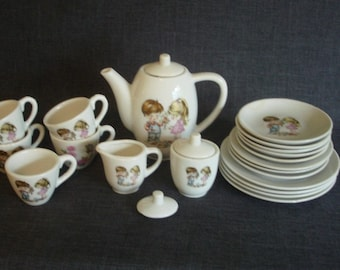 Childrens Porcelain Tea Set, Mixed Design Play Tea Set, Made In Japan Child's Tea Set