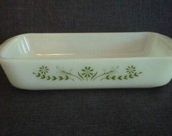 Vintage Glasbake Milk Glass Casserole Dish, Green Flower Glasbake Casserole, Vintage Green Flower Casserole