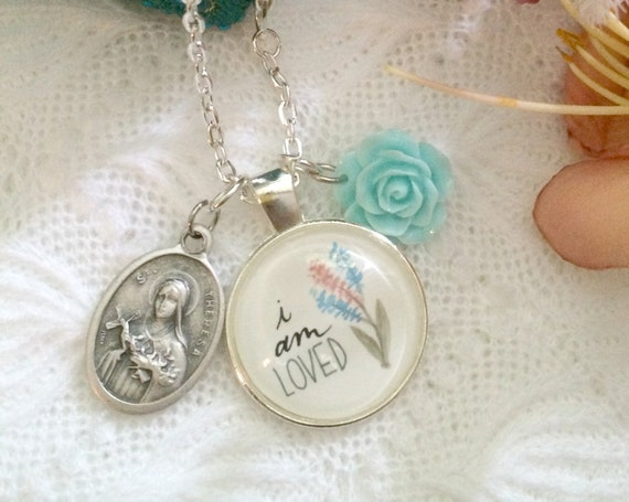 Catholic Jewelry * Charm Necklace * Hand-lettered & Illustrated I Am Loved Pendant * St. Therese Medal * Catholic Christian Jewelry