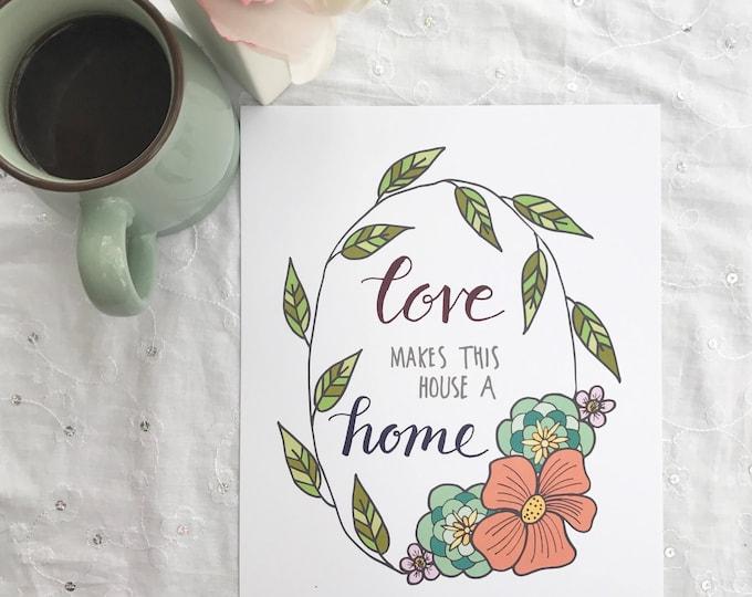Catholic Print * Catholic Home Decor * Housewarming Gift * Inspirational Print * Handlettered Floral Print * New Home Gift * Wedding Gift