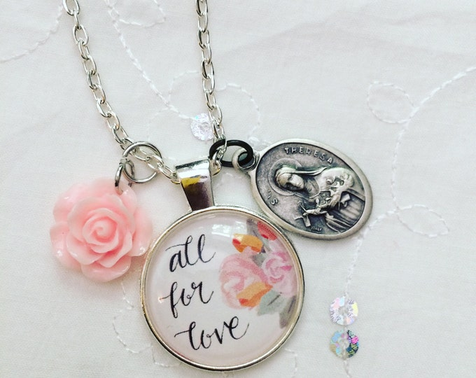 Catholic Pendant Necklace * Hand-lettered Pendant * St. Therese Medal * Floral Necklace * Catholic Christian Jewelry * Girl Gift