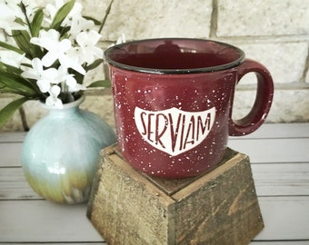 Serviam St. Michael Catholic Ceramic Campfire Mug