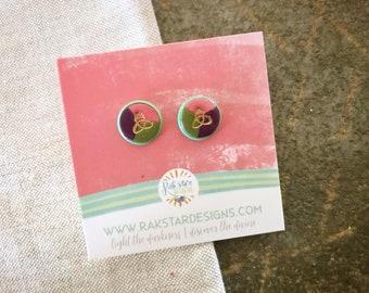 Trinity Knot Color Block Stud Earrings