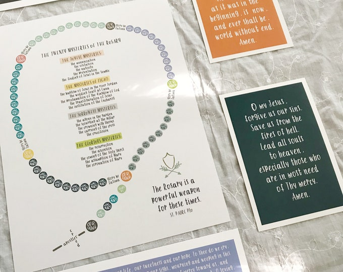 Catholic Kids Rosary Printable with Padre Pio Quote - DIGITAL DOWNLOAD ONLY