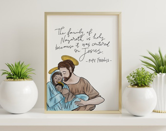 Holy Family / Pope Francis Watercolor Print