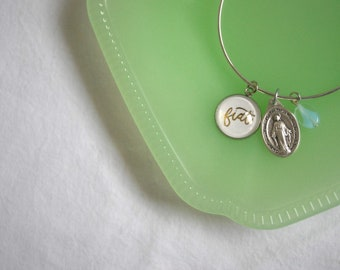 Catholic Fiat Bangle Bracelet with Miraculous Medal