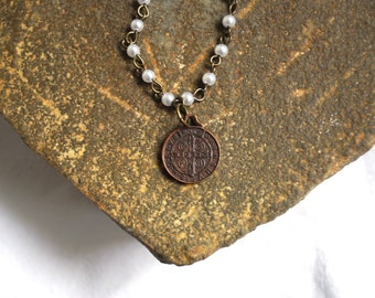 Catholic Vintage St. Benedict Medal Beaded Necklace