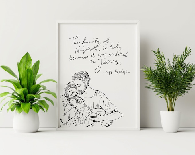 Holy Family Sketch / Pope Francis Print