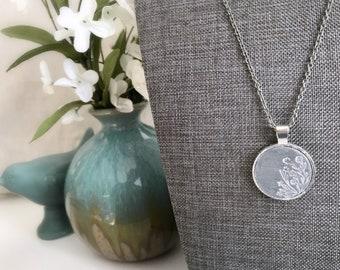 Wildflower Pendant Necklace - Faux Concrete